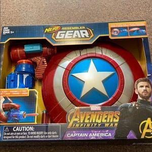Captain America nerf shield and gun